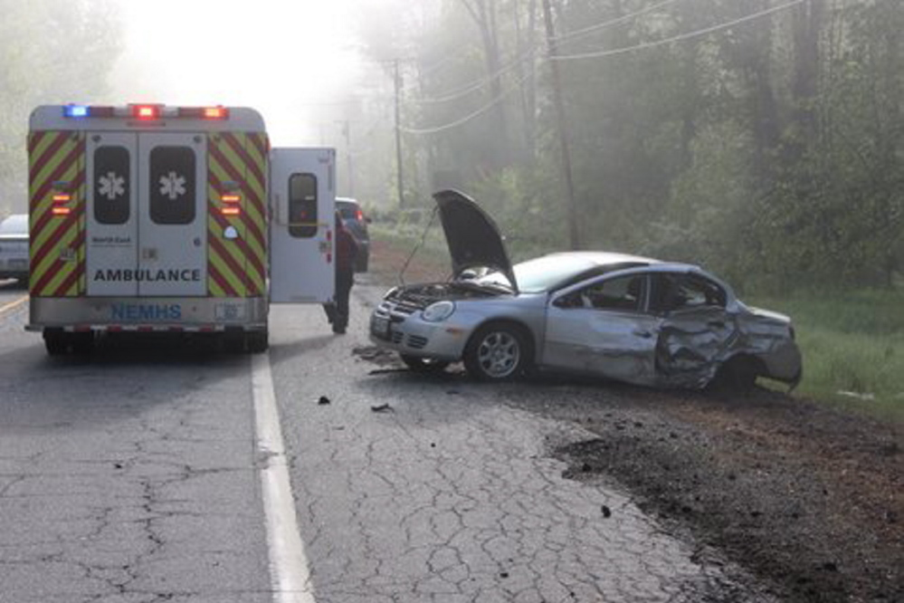 CRASH: The scene of a car accident Thursday morning on U.S. Route 201 in Richmond.