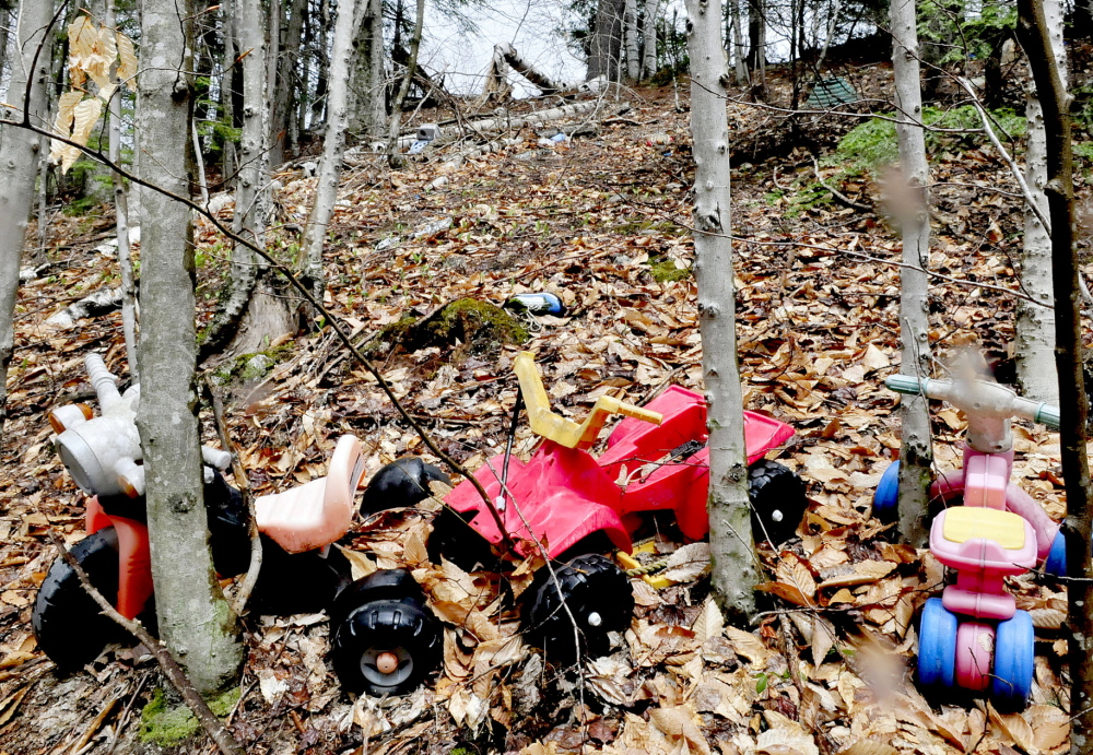 NO THANKS: Children toys and other household items litter the woods off Penney Road in Belgrade.