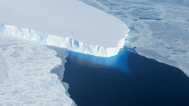This undated handout photo provided by NASA shows the Thwaites Glacier in West Antarctica.
