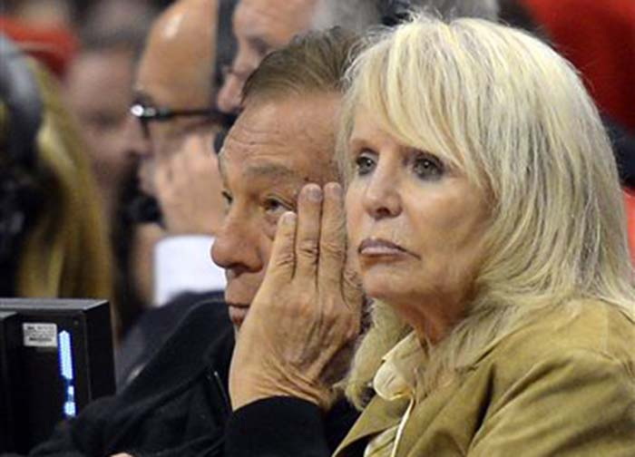 Donald Sterling and his wife Rochelle watch the Clippers play the San Antonio Spurs in Los Angeles in 2012. An attorney representing Rochelle has said that she will fight to retain her 50 percent ownership stake in the team.