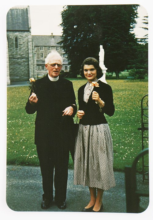 This image made available by Sheppard's Irish Auction House shows the Rev. Joseph Leonard with Jacqueline Kennedy at All Hallows College in Dublin Ireland in 1950. The letters are set to be auctioned next month and could fetch up to $1.6 million.