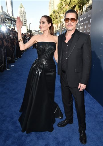 Angelina Jolie and Brad Pitt arrive at the world premiere of
