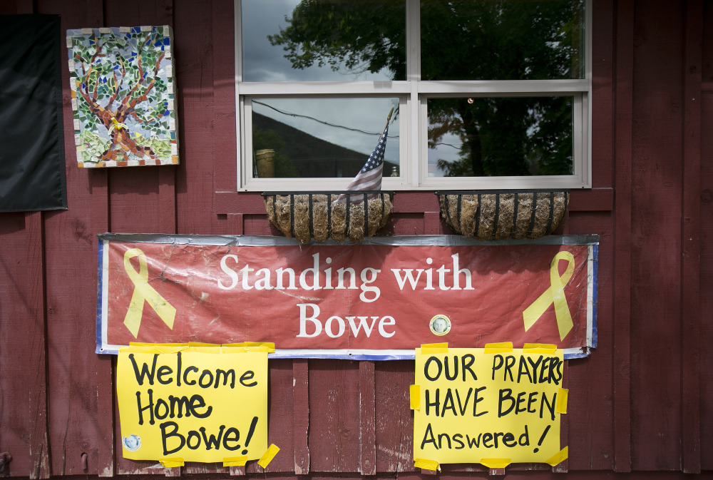 Signs celebrating U.S. Army Sgt. Bowe Bergdahl's release hang on the front of Zaney's coffee shop in Hailey, Idaho, his hometown, on Saturday.