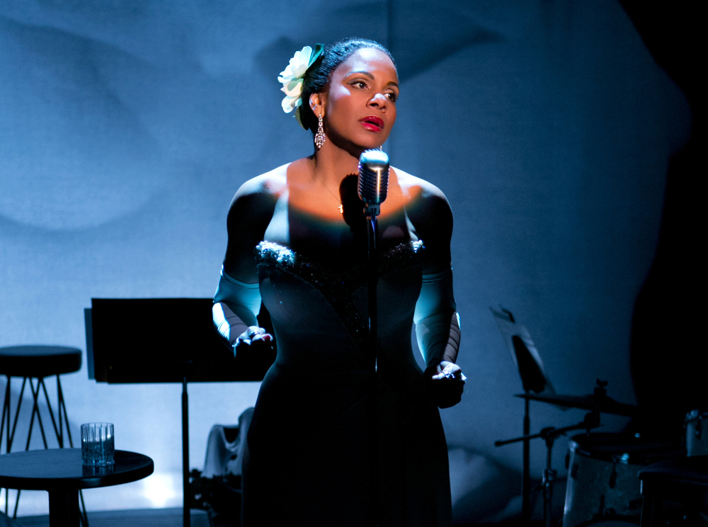 """The Associated Press This photo provided by Jeffrey Richards Associates shows Audra McDonald as Billie Holiday in """"Lady Day at Emerson's Bar & Grill"""". McDonald is nominated for a Tony Award for best performance by an actress in a leading role in a play for """"Lady Day at Emerson's Bar & Grill."""""""
