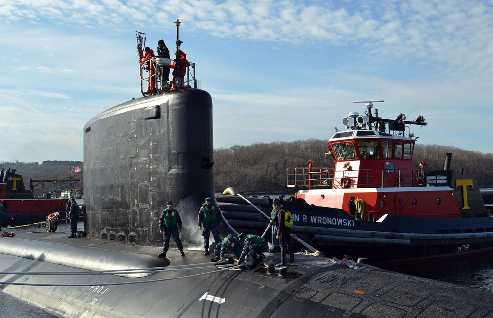 U.S. Navy photo The Virginia-class attack submarine USS California navigates to pierside at its home port Groton, Conn., in this undated photo.