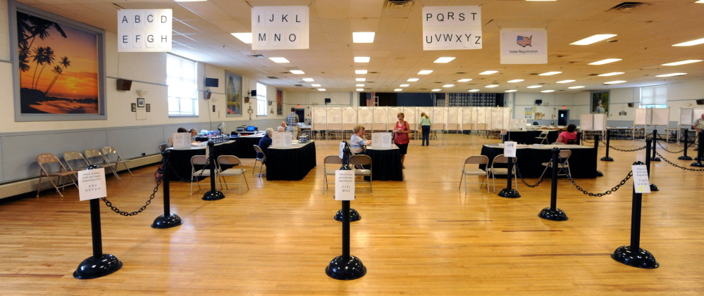 Staff photo by Michael G. Seamans Low Turnout: Polls were empty during primary voting at the American Legion on College Avenue in on Tuesday.