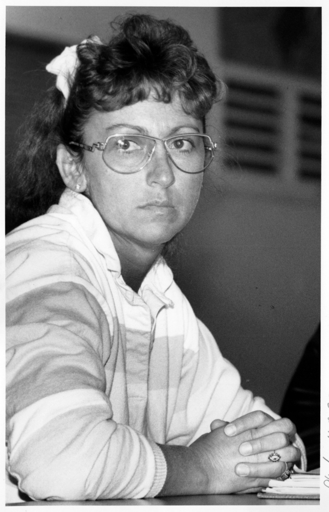 Early Years: Carole Swan is pictured in April 1993, early in her tenure during a meeting of the Chelsea Board of Selectmen.