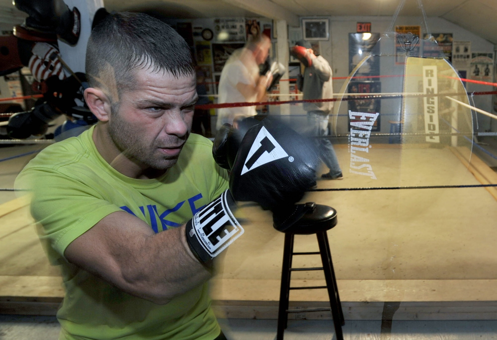 "Brandon ""The Cannon"" Berry works out at Wyman's Boxing Club in Stockton Springs in this file photo."