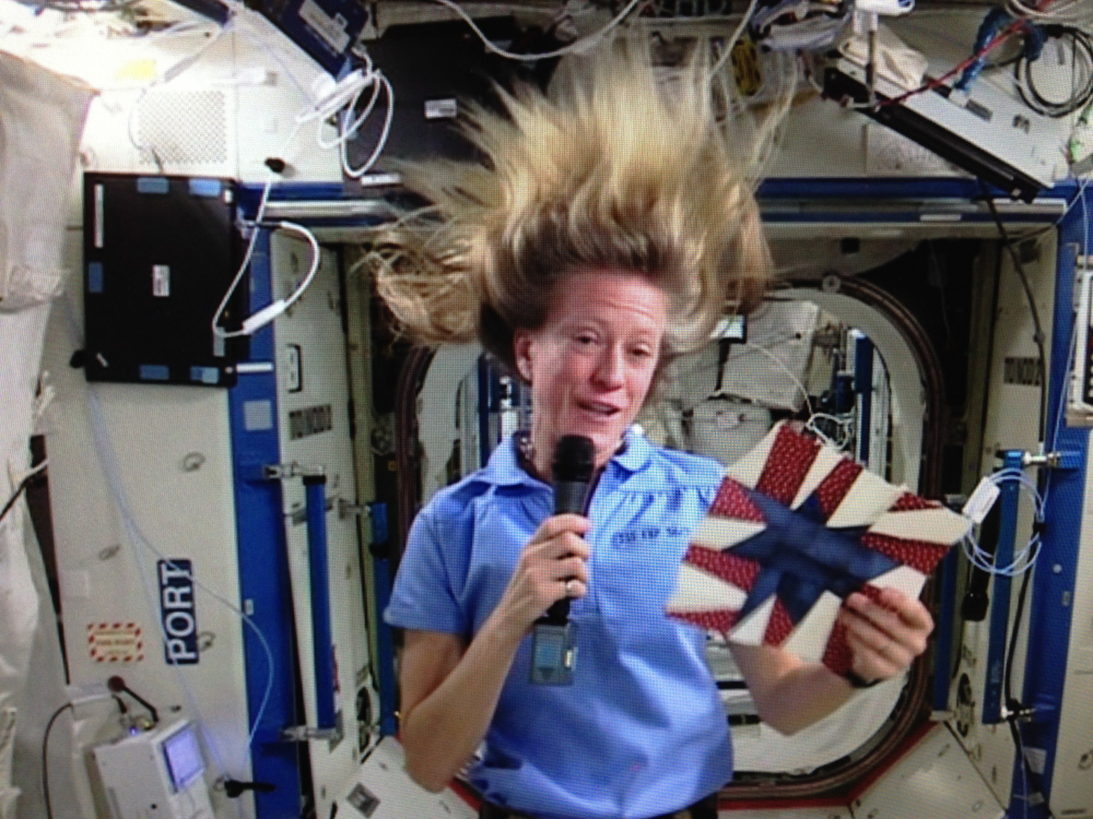 Space Quilt: Astronaut Karen Nyberg made a quilt block aboard the International Space Station. Back on Earth, her block will become part of a quilt that will debut at this year's International Quilt Festival.