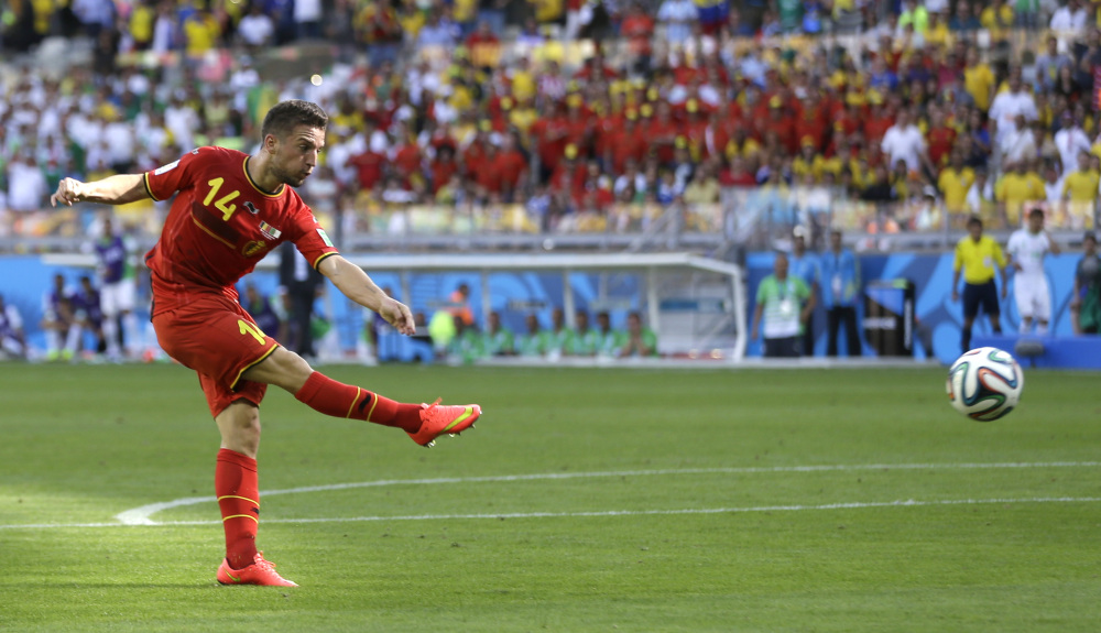 Belgium's Dries Mertens scores his side's second goal during the group H World Cup soccer match between Belgium and Algeria in Belo Horizonte, Brazil, on Tuesday.