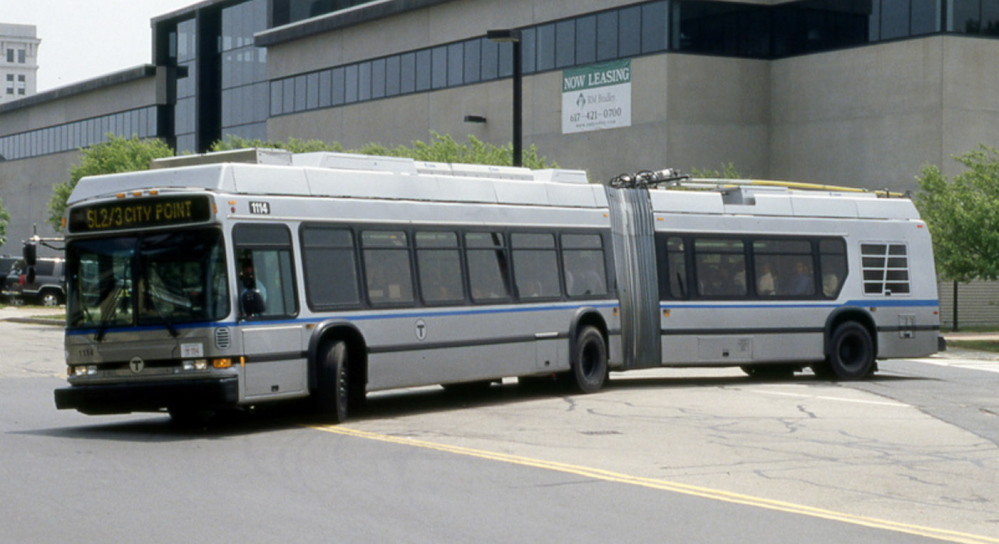A Massachusetts Bay Transit Authority Dual Mode Articulated NEOPLAN bus is similar to ones that will be refurbished by the Maine Military Authority.