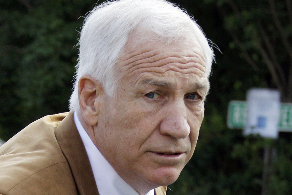 In this June 22, 2012, file photo, former Penn State assistant football coach Jerry Sandusky arrives at the Centre County Courthouse in Bellefonte, Pa.
