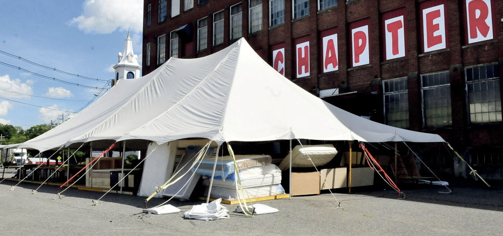 The sales tent outside the Chapter 11 store in Skowhegan containing furniture and household items was burglarized early Monday and police have leads on the person responsible.