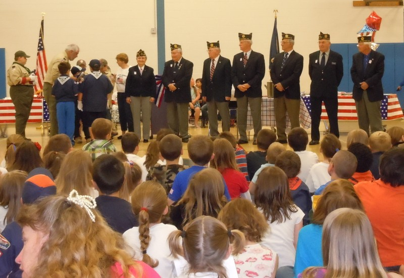 Students at Carrie Ricker School participate in a Flag Day Ceremony.