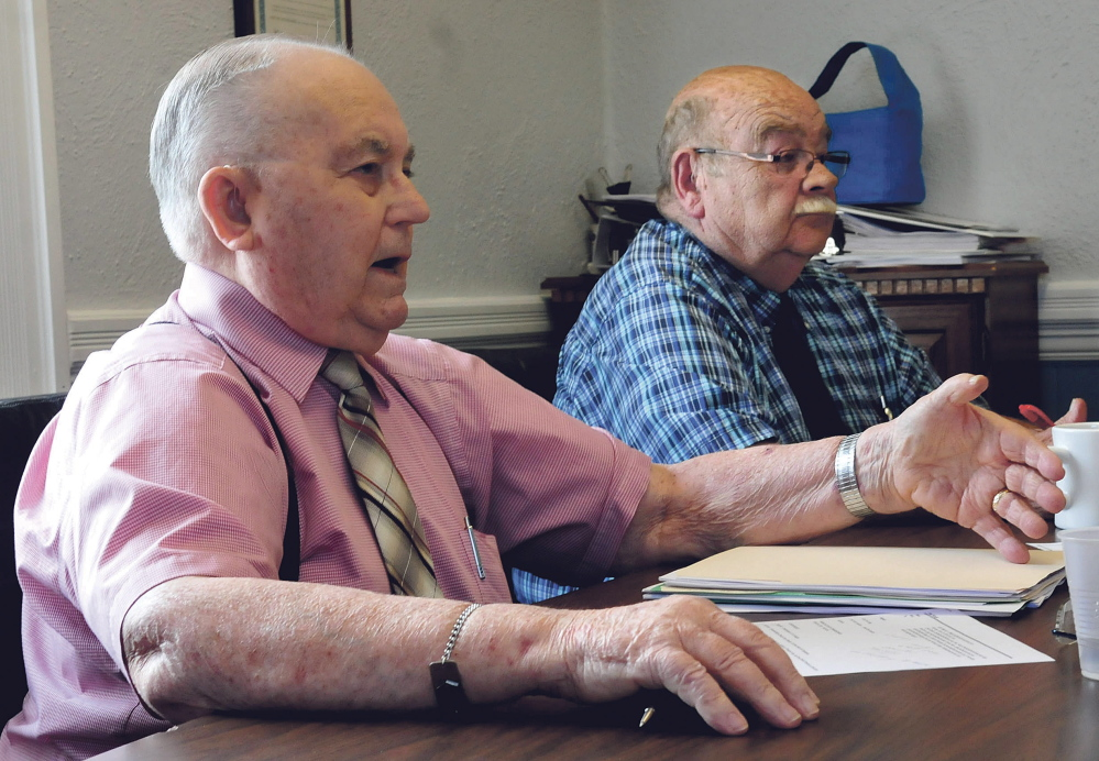 Franklin County Commissioners Fred Hardy, left, and Clyde Bunker during budget hearings in Farmington on Tuesday.