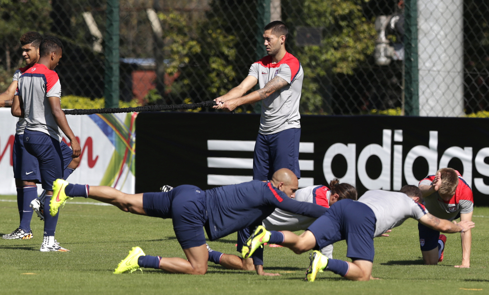 United States players work out during a training session Tuesday in Sao Paulo, Brazil. The United States will play Germany on Thursday in Recife, Brazil.