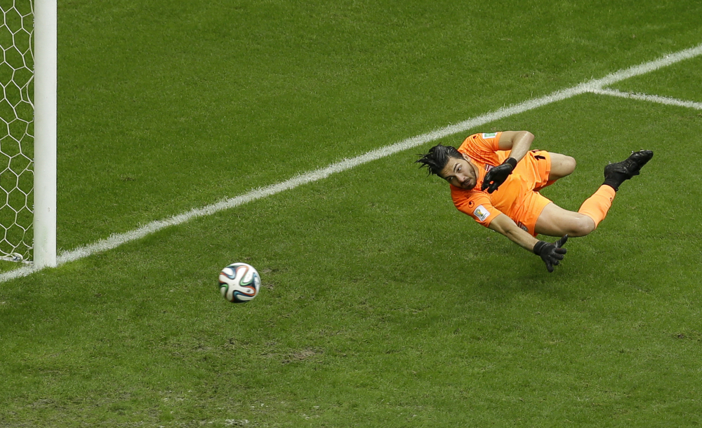 Iran goalie Alireza Haghighi fails to stop a goal by Bosnia defender Avdija Vrsajevic during the second half of a group F World Cup soccer match.