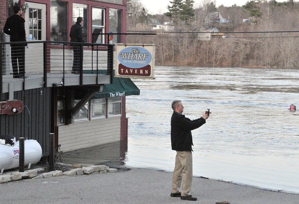This April file photo shows flooding along the Kennebec River in Hallowell. The National Weather Service has issued a flash flood warning for Kennebec County and surrounding areas beginning Wednesday evening.