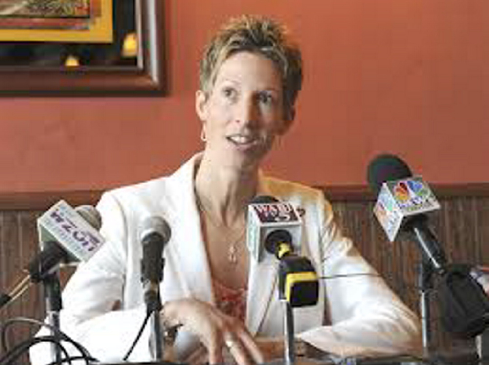 Clinton native Cindy Blodgett talks about her firing as women's basketball coach at the University of Maine during a March 2011 press conference at Paddy Murphy's pub in Bangor. Blodgett is joining the Boston University women's program as an assistant coach.