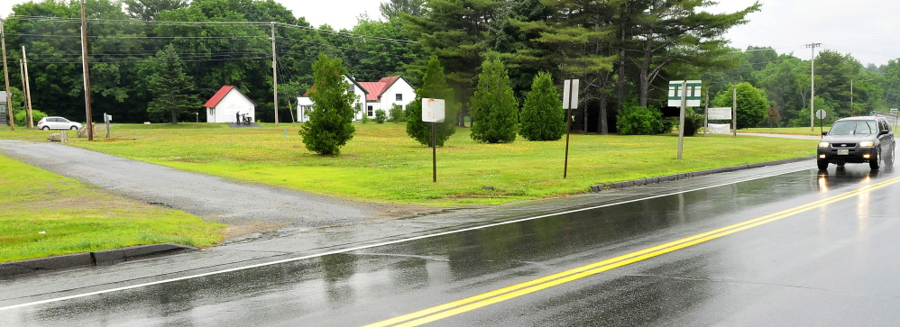 The triangular plot of land located at the entrance to the town of Farmington off Route 2 is the site of a new park being financed by businessman Richard Bjorn.