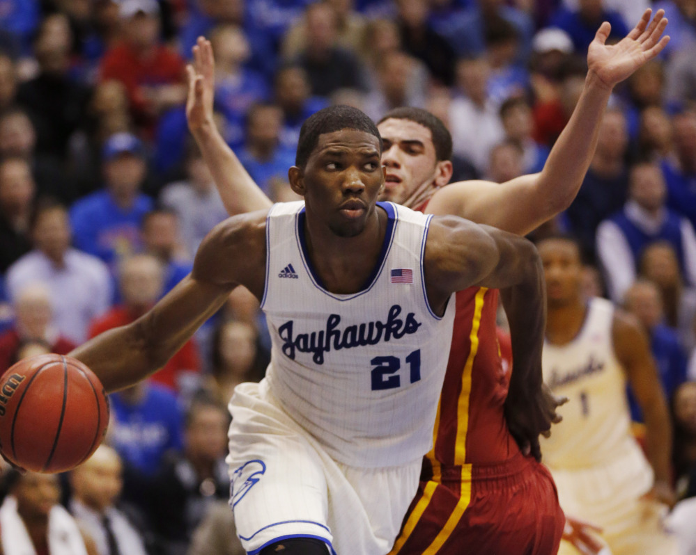 Kansas center Joel Embiid (21), who recently had surgery to correct a foot injury, could be available to the Boston Celtics with sixth pick in the first round. The Celtics also own the 17th pick.