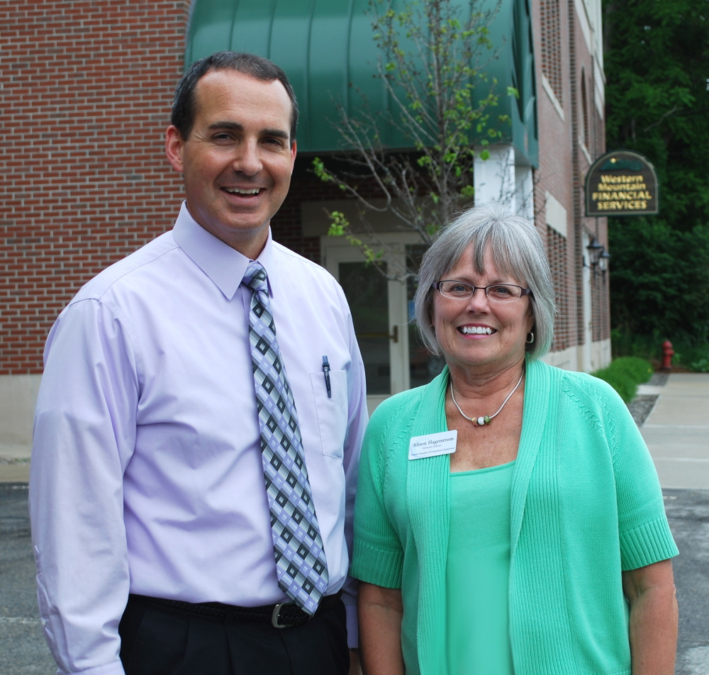Franklin Savings Bank Senior VP and CFO Timothy Thompson, left, with Greater Franklin Development Corporation Executive Director Alison Hagerstrom.