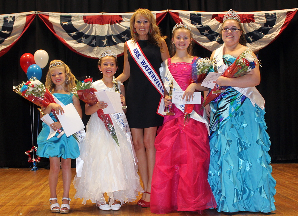 The Winslow 4th of July pageant kicked off this year's festivities on Saturday at Winslow High School. Pageant winners, from left, were Miss Firecracker Madisyn Niles, Little Miss 4th of July is Makenzie Nadeau, a judge, Mrs. Waterville Penny Lord-Davis, Jr. Miss 4th of July is KaiaTrask, and Miss 4th of July is Rajel Hippler