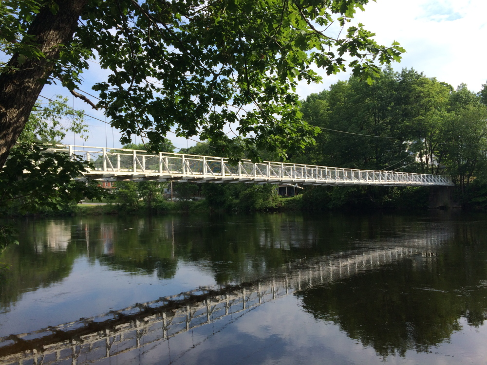 The Swinging Bridge in Skowhegan, where Peter Gary jumped as was rescued by two bystanders Sunday after he struggled in the water. The bridge is a popular swimming spot.