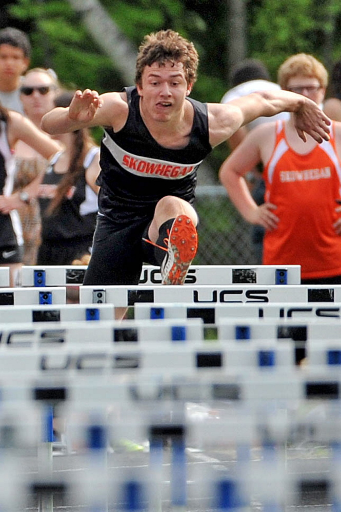 Staff photo by Michael G. Seamans PEOPLE PERSON: Skowhegan hurdler Jacob Coombs won the 110 hurdles title last week at the Kennebec Valley Athletic Conference championships.