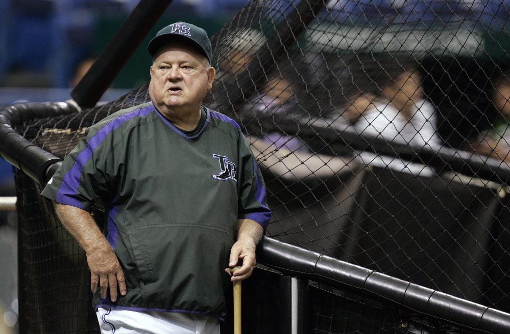 Tampa Bay Devil Rays special advisor Don Zimmer leans against the batting cage before a baseball game between the Devil Rays and Boston Red Sox, Friday night Sept. 21, 2007 in St. Petersburg, Fla. (AP Photo/Chris O'Meara)