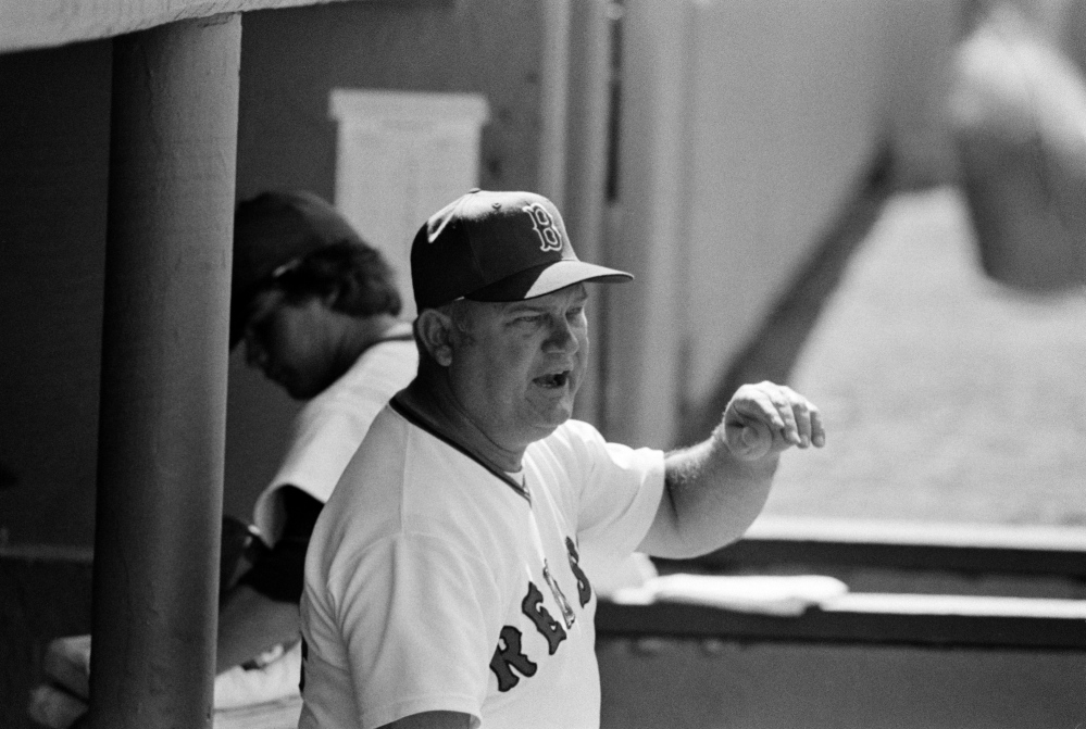 The Associated Press File Photo Boston Red Sox manager Don Zimmer shouts instructions to his team during game against the Baltimore Orioles game at Fenway Park in Boston, Ma., Sunday, July 3, 1977.