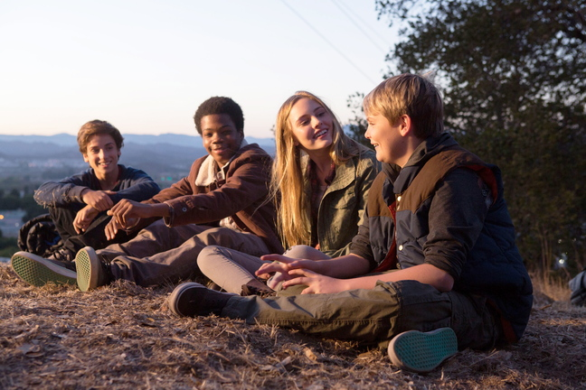 """M284 (Left to right.) TEO HALM, ASTRO (BRIAN BRADLEY), ELLA LINNEA WAHLSTEDT and REESE HARTWIG star in Relativity Media's """"Earth to Echo. """"   © 2013 Relativity Media, LLC. All Rights Reserved. Photo Credit: Peter Iovino"""