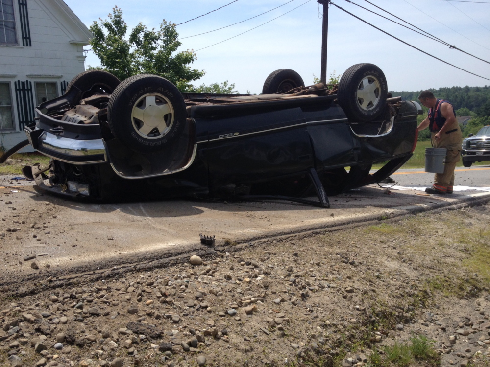 One person was hurt in Richmond Tuesday when the vehicle he was driving hit a telephone pole and flipped over on Route 24.