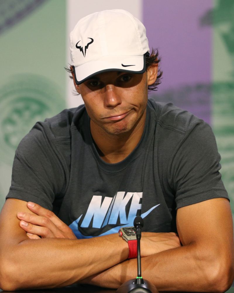 Rafael Nadal of Spain attends a press conference after being defeated by Nick Kyrgios of Australia.