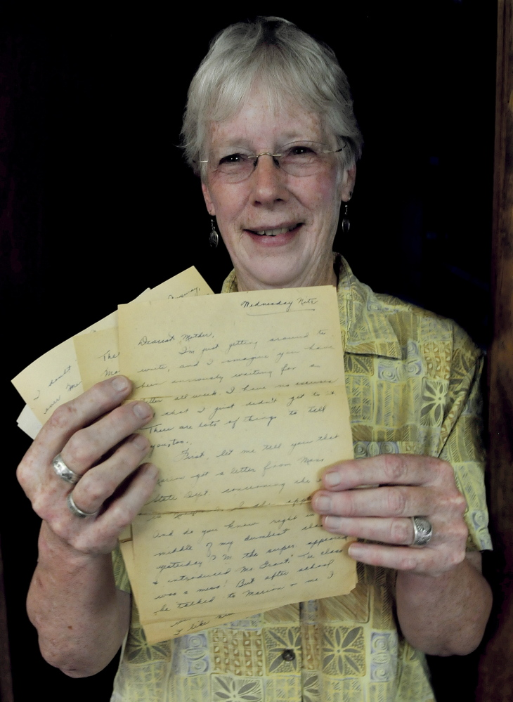 Ann MacMichael of Cornville holds nine pages from a letter she received recently from the Pittsfield post office that was written and mailed in 1931 by her aunt, Miriam McMichael Robinson.