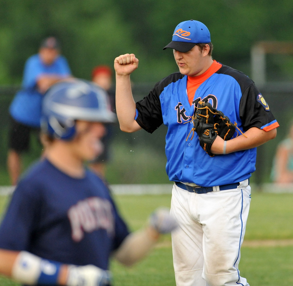 RTD of Madison pitcher Taylor Bacon, 40, celebrates after defeating Post 51 at Colby College Tuesday. RTD defeated Post 51 5-2.