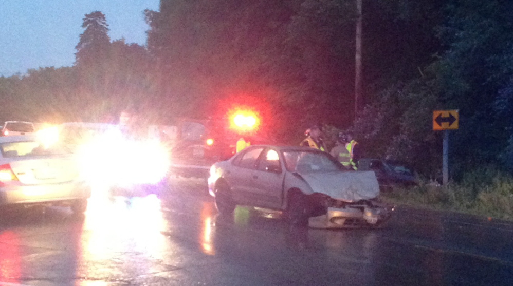 Two people were injured when a Pontiac and a Chevy Cavalier collided at the intersection of Middle Road and Route 139 in Fairfield Wednesday night.