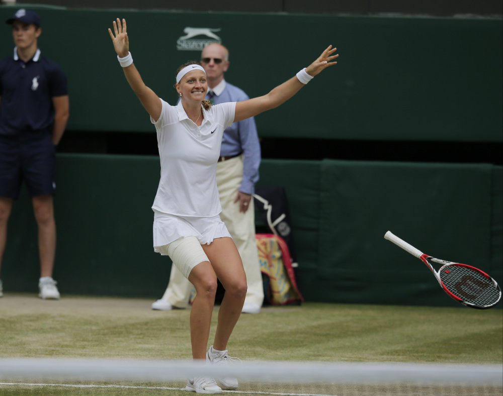 Petra Kvitova celebrates after defeating Eugenie Bouchard in the women's singles final at Wimbledon on Saturday.