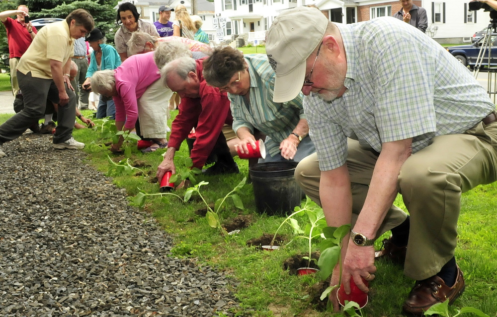 Participants in a memorial Sunday, July 7, 2014, for the Lac-Megantic oil train tragedy plant sunflowers beside the Universalist Unitarian church in Waterville for the 47 victims who died in the inferno a year ago.
