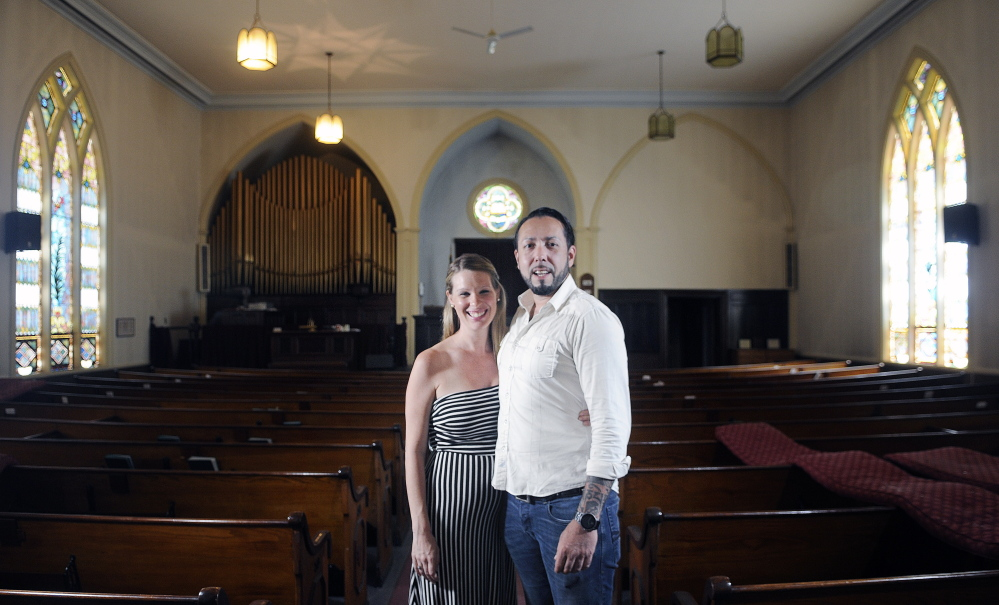 Kristina Nugent and David Boucher hope to convert a former Gardiner church into a hard cider brewery. The couple visited the 19th century chapel on Sunday July 6, 2014, where they hope to locate Lost Orchard Brewery Company. The Gardiner Planning Board will review their proposal, which is the first use of a new ordinance that allows for commercial reuse of former non-residential buildings in residential neighborhoods.