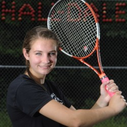 FARMINGDALE, ME - JUNE 3: Hall-Dale High School's Clio Barr at the Farmingdale school on Thursday July 3, 2014.  Barr is the Kennebec Journal's woman tennis player of the year. (Photo by Andy Molloy/Staff Photographer)