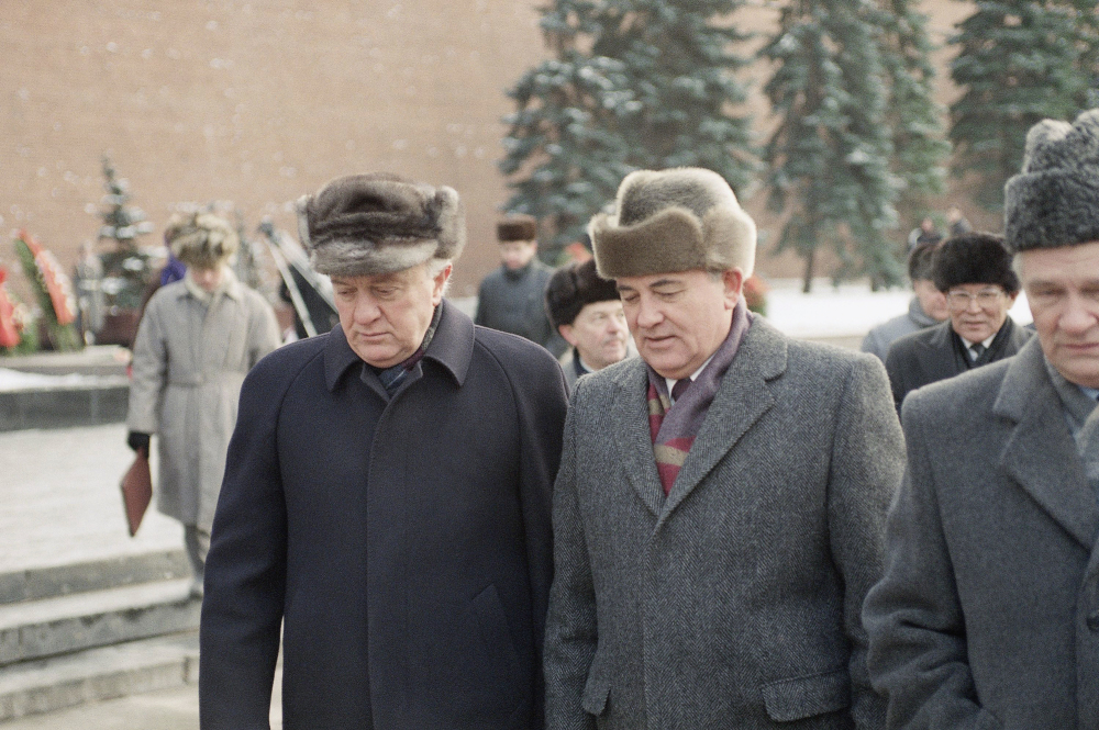 Soviet President Mikhail Gorbachev, right, and Soviet Foreign Minister Eduard Shevardnadze talk on their way to a wreath laying ceremony commemorating the 50th anniversary of the Battle of Moscow during World War II in this December 1991 photo.
