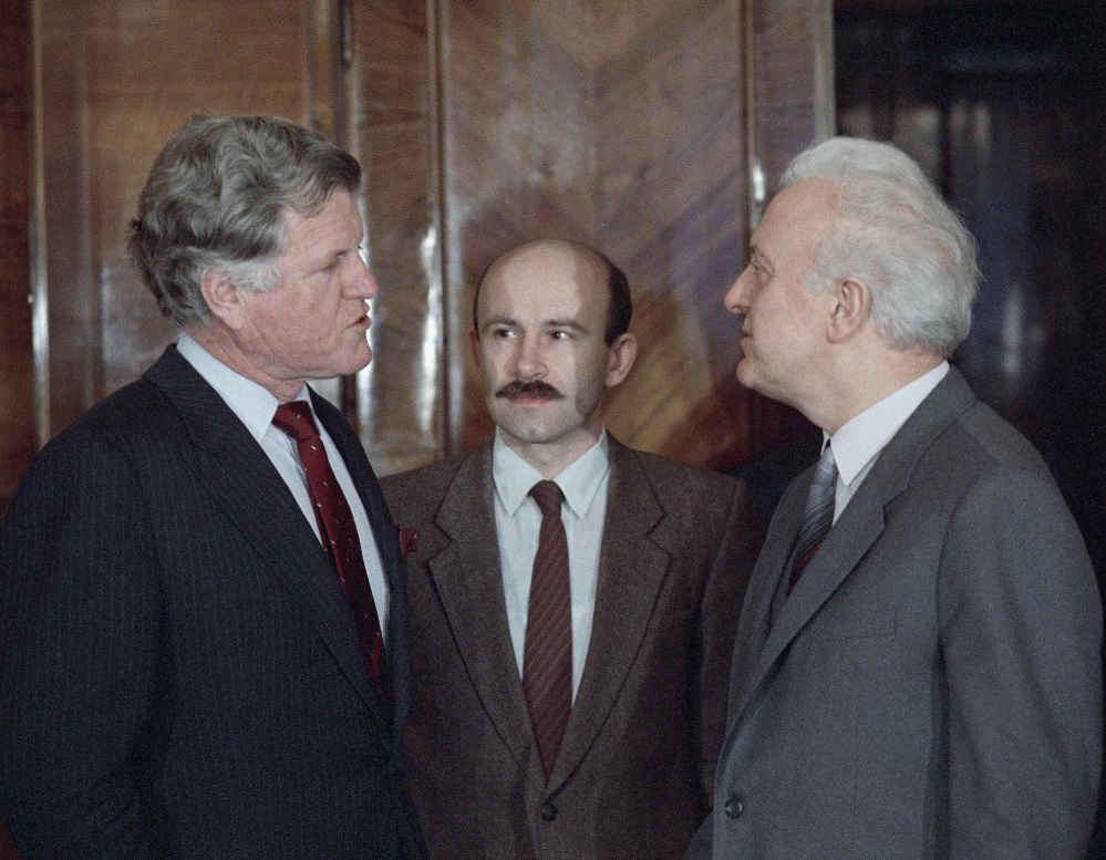 Sen. Edward M. Kennedy, left, meets with Soviet Foreign Minister Eduard Shevardnadze in Moscow in this February 1986 photo.