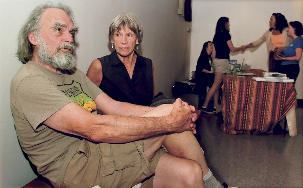 Abbott and Nancy Meader of Oakland discuss the reasons they have patronized the Maine International Film Festival in the lobby of the Railroad Square Cinema in Waterville Monday. This year MIFF and the Waterville Arts Festival events will occur together starting this Saturday.