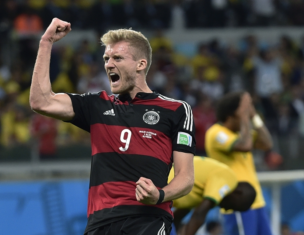 Germany's Andre Schuerrle celebrates after scoring his team's sixth goal during Tuesday's semifinal.