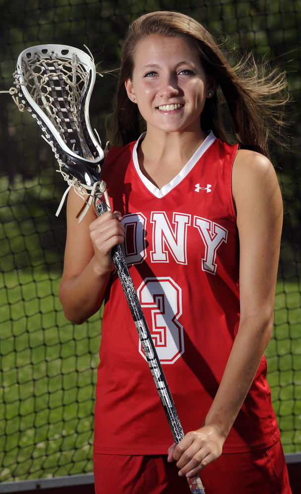 Cony High School's Hailey Quirion, pictured here at the Augusta school Monday, is the girls lacrosse player of the year.