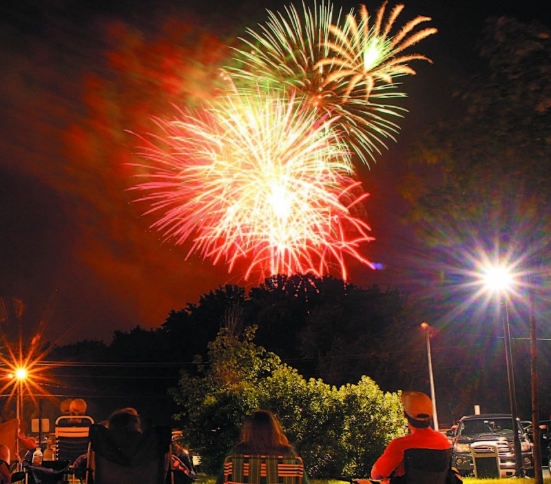 Fireworks light up the sky over the Hathaway Creative Center in Waterville during the Winslow Family 4th of July Celebration.