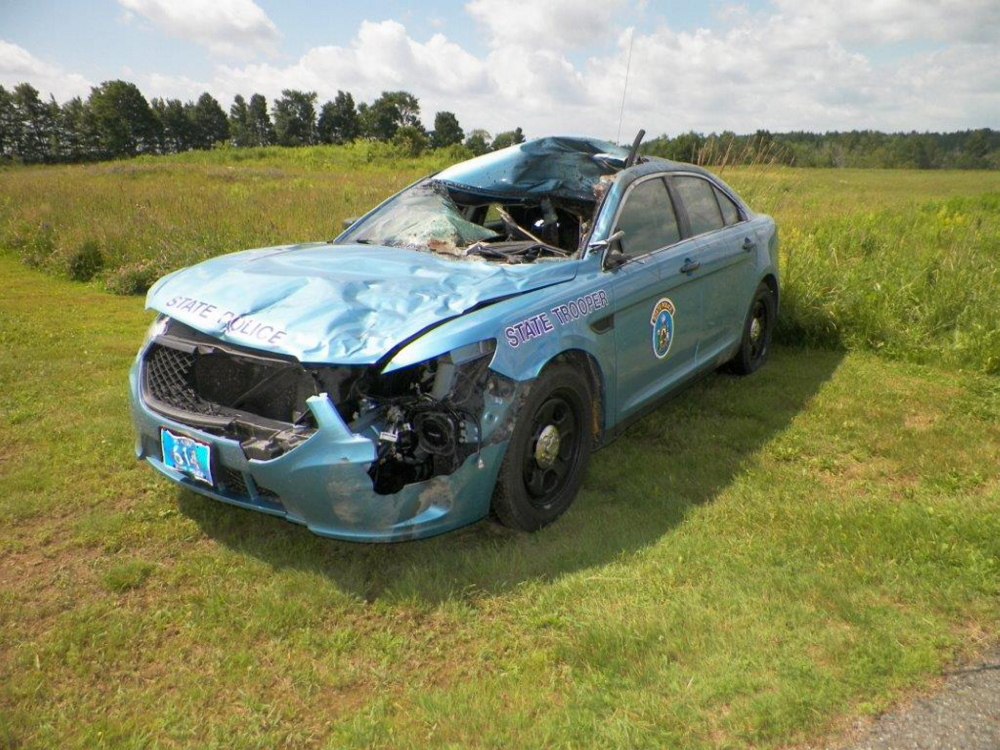 State Trooper Dennis Quint was injured when his cruiser struck a moose Tuesday night along Route 1 in Cyr Plantation while he was responding to another moose-vehicle collision. Maine State Police photo