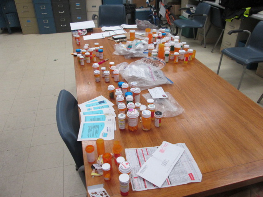 Police display of recovered prescription drugs stolen when a locked cabinet was taken from the Trinity Homeless Shelter in Skowhegan last weekend. Officials say the drugs cannot be returned to patient because of fears of tampering.