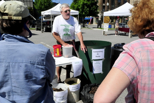 REUSE: Geoff Hill held a workshop Thursday, June 19, 2014, on composting common household products to make a nutrient rich additive for plants and vegetables and reduce waste. The workshop was held at the Waterville downtown Farmers market.